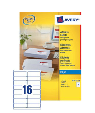 J8162-100 avery Avery Inkjet Addressing Labels 99x34mm J8162-100(1600labels) - AD01