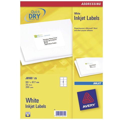 J8165-25 avery Avery Inkjet Addressing Labels 99x67.7mm J8165-25(200labels) - AD01