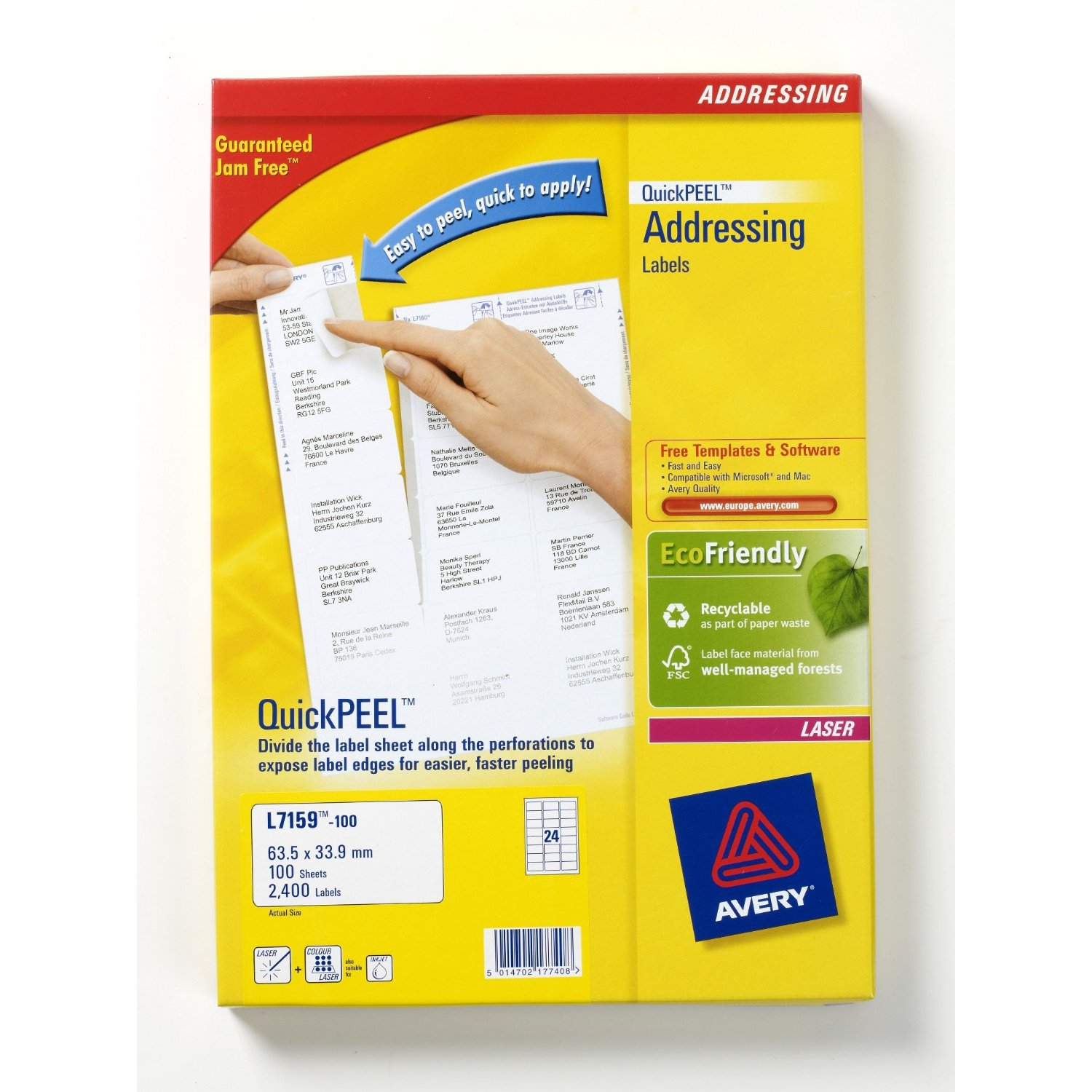 L7159-100 avery Avery Quickpeel Address Label 63x34mm L7159-100 (2400labels) - AD01
