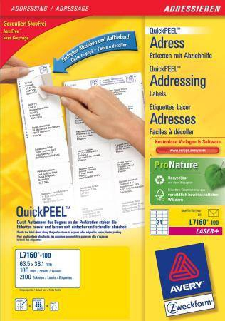 L7160-100 avery Avery Quickpeel Address Label 63x38mm L7160-100 (2100labels) - AD01
