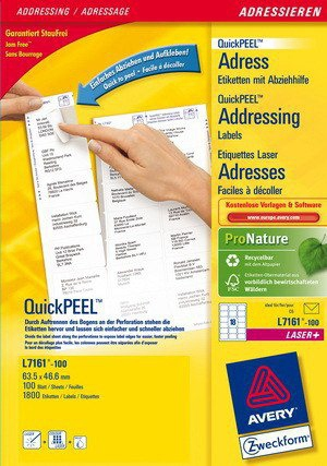 L7161-100 avery Avery Quickpeel Address Label 63x47mm L7161-100 (1800labels) - AD01