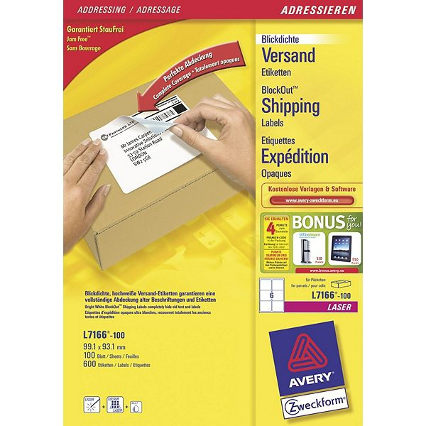 L7166-100 avery Avery Blockout Shipping Labels 99x93mm L7166-100 (600labels) - AD01