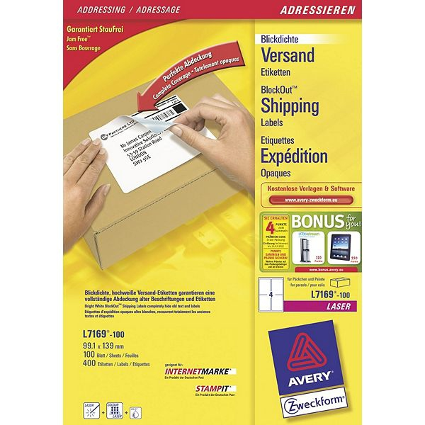 L7169-100 avery Avery Blockout Shipping Labels 139x99mm L7169-100(400labels) - AD01