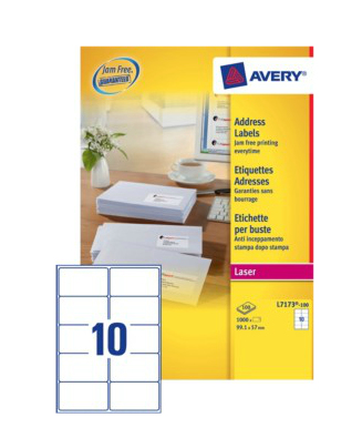 L7173-100 avery Avery Quickpeel Address Label 99x57mm L7173-100 (1000labels) - AD01