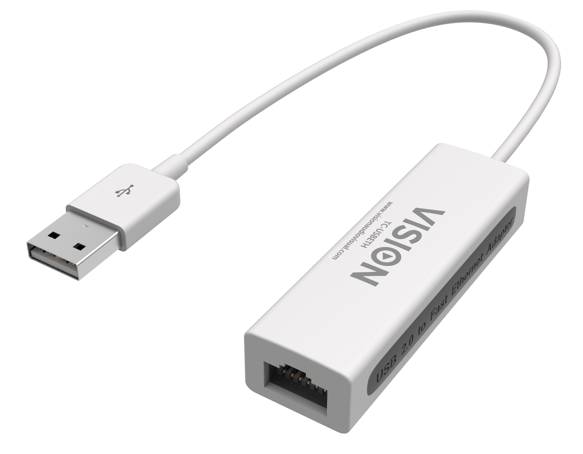 TC-USBETH Vision VISION TECHCONNECT USB ETHERNET ADAPTOR Engineered Connectivity Solution, White Chassis, USB 2.0 To Ethernet 10/100Mbps, Works With Mac And PC, Integrated Fast Ethernet MAC,  - C2000