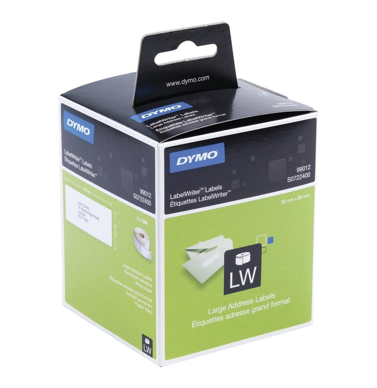 S0722400 Dymo Permanent Adhesive Paper Address Labels - White - 36 X 89 Mm - 520 Label(s) ( 2 Roll(s) X 260 ) - For DYMO LabelWriter 300, 400, 450, 4XL - S0722400 - C2000