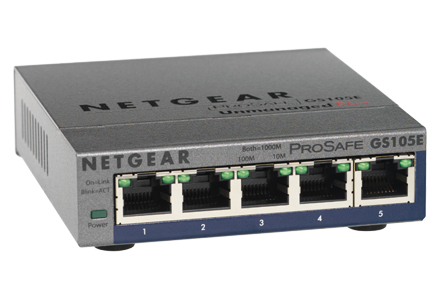 NETGEAR ProSAFE 5-Port POE/PD Gigabit Plus Switch GS105PE-10000S - C2000
