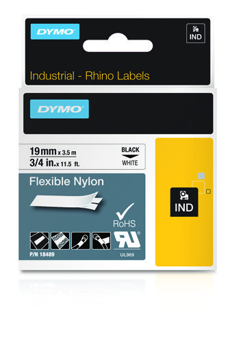 Dymo Rhino Tape Original Flexible 19mm Black On White 18489 18489 - C2000