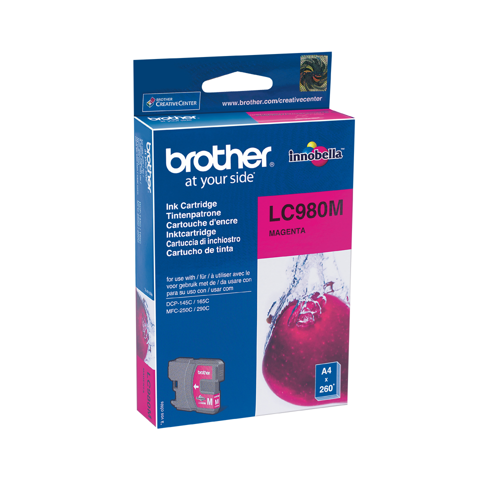 Lc980m brother Mfc250c/290c Magenta Ink 260pgs - AD01