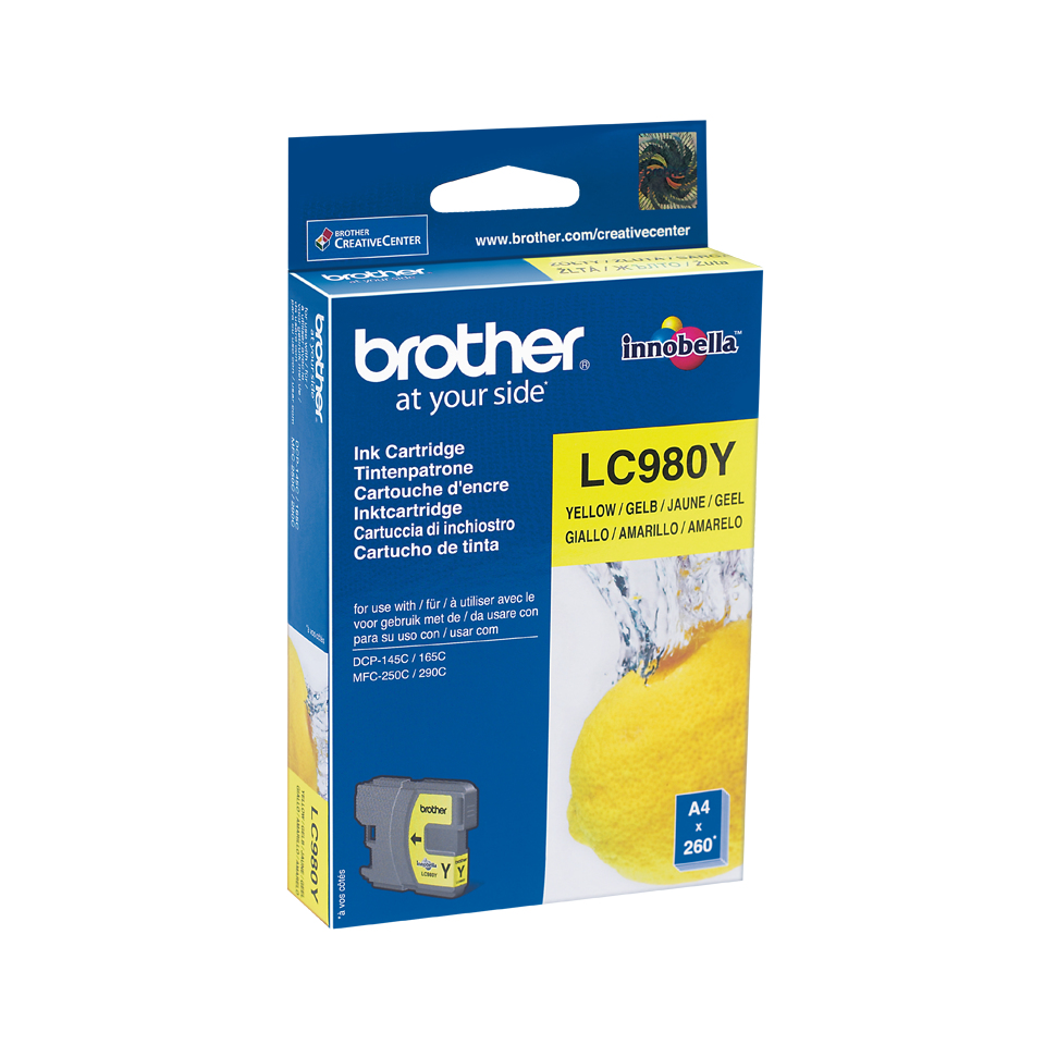 Lc980y brother Mfc250c/290c Yellow Ink 260pgs - AD01
