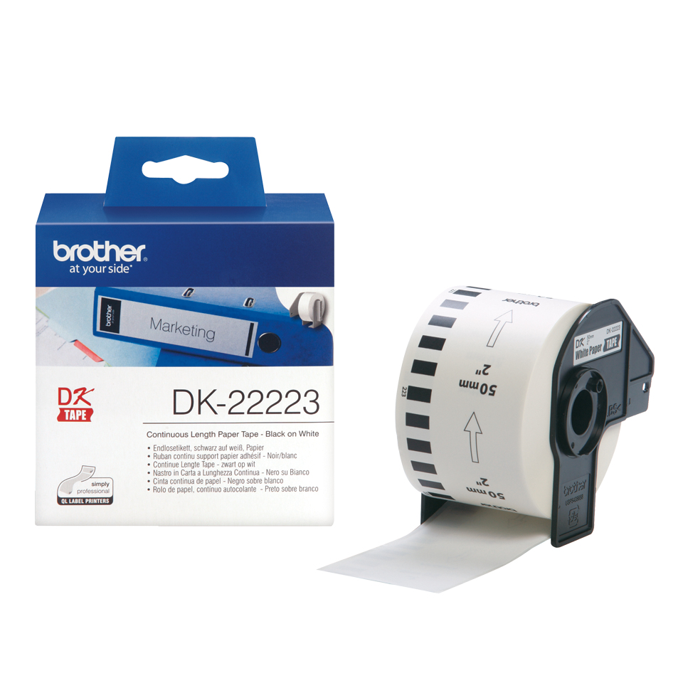 Dk22223 Bro Blk On White Cont Tape - WC01