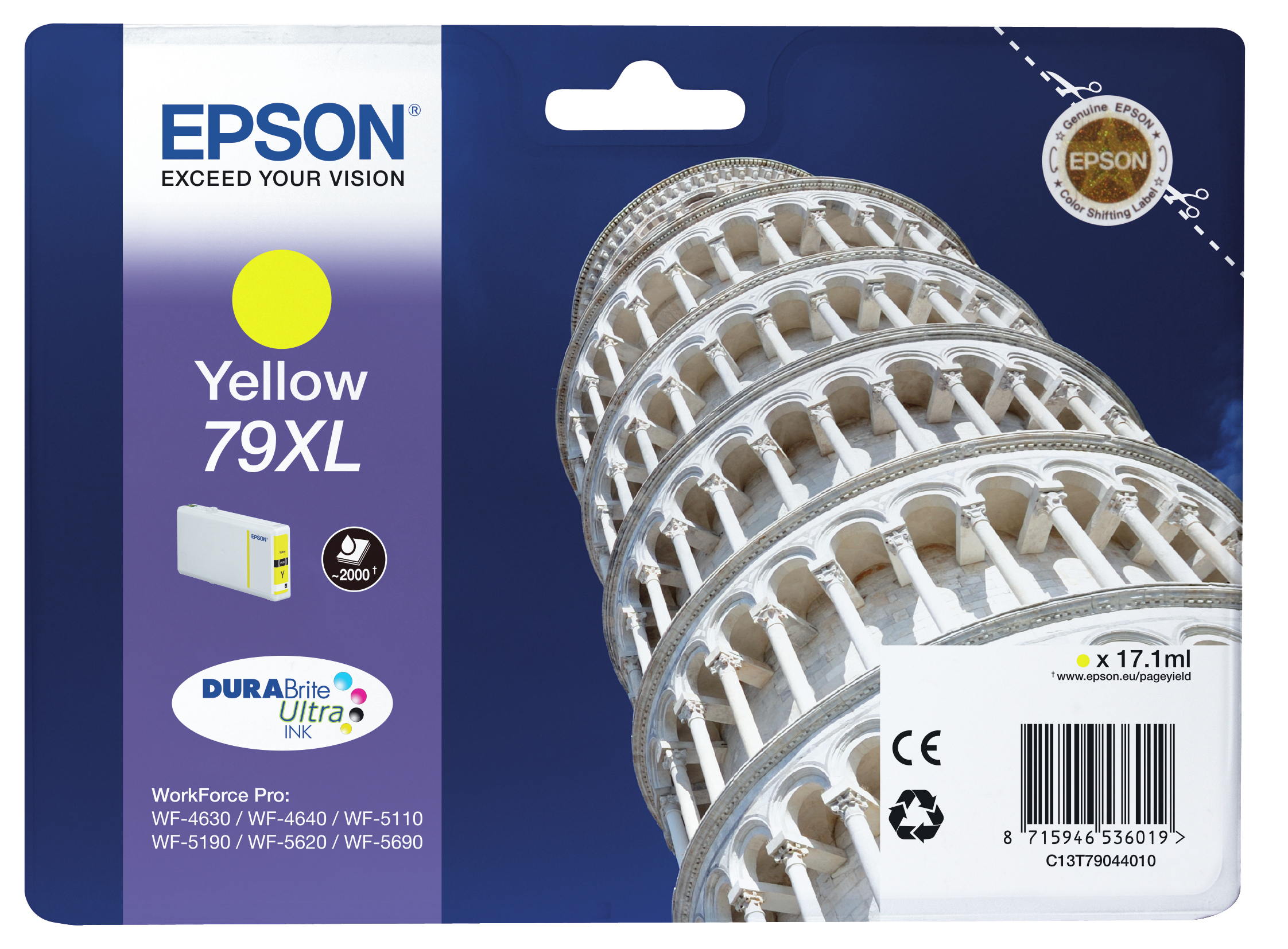 Epson 79XL - High Capacity - Yellow - Original - Ink Cartridge - For WorkForce Pro WF-4630DWF, WF-4640DTWF, WF-5110DW, WF-5190DW, WF-5620DWF, WF-5690DWF C13T79044010 - C2000