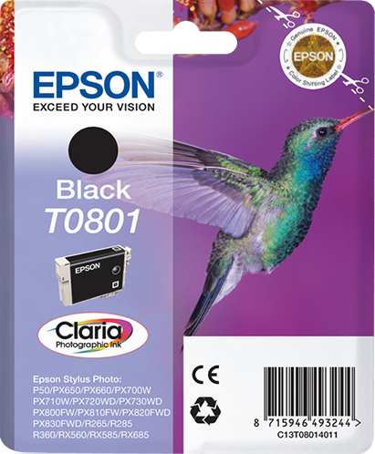 C13t08014011 epson Sty Phto R265 Black Claria Ink Cart - AD01