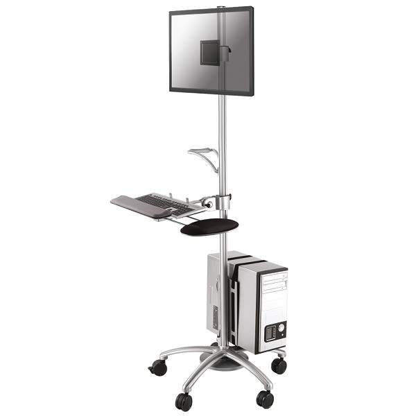 "Newstar Mobile Workplace Floor Stand / Trolley 10-24"", 1 Screen, Monitor/keyboard/mouse & PC, Tilt/Swivel, Vesa 75x75 To 100x100mm, Max 10kg, Silver FPMA-MOBILE1800 - C2000"