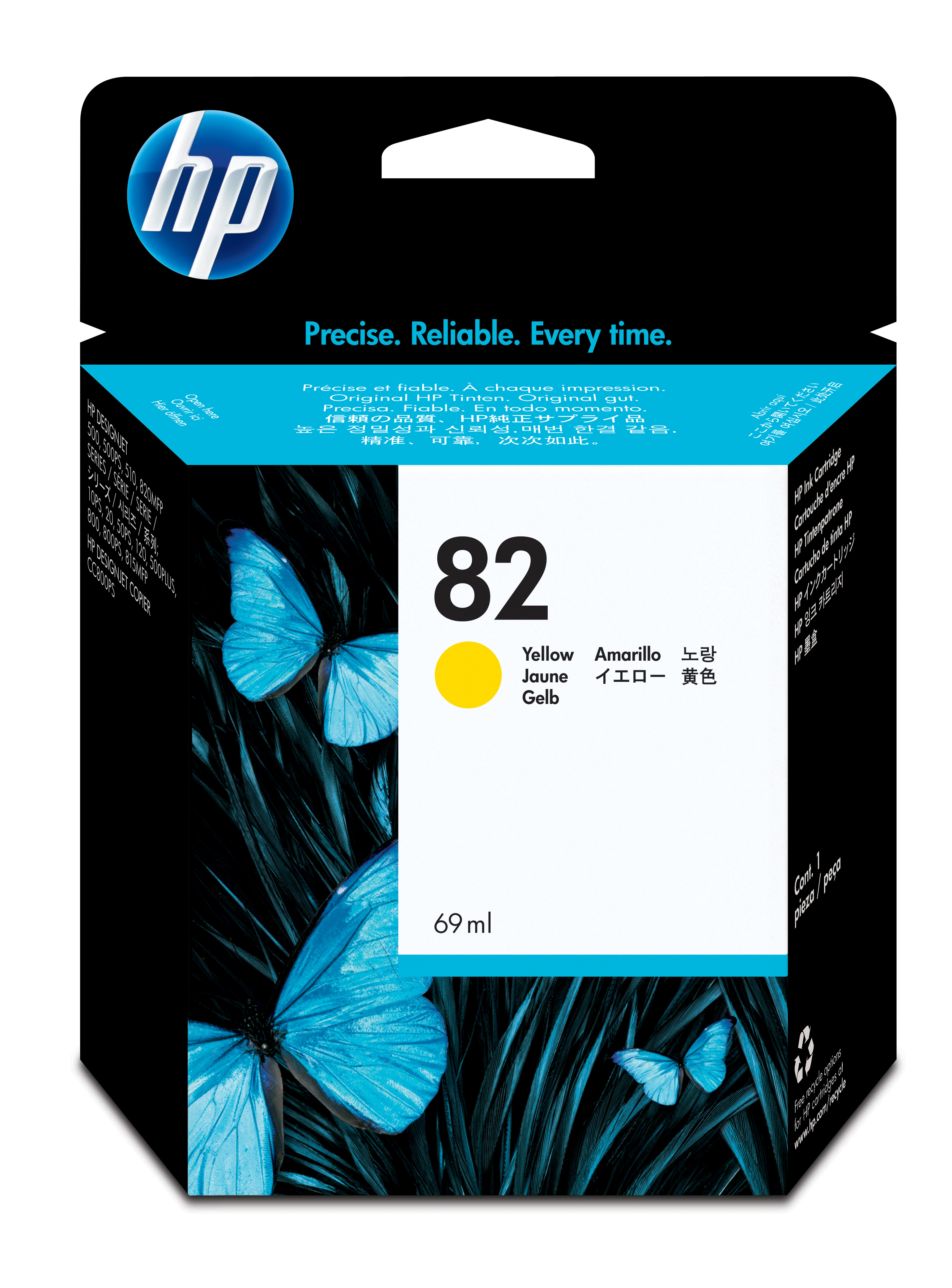 Hpc4913a       Hp 82 Dye Yellow Inkjet        Hp No. 82 Dye Yellow Ink Cart69cc                            - UF01