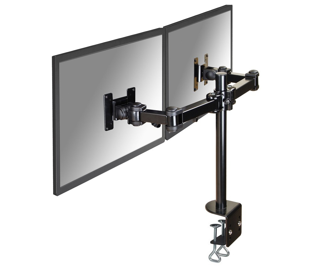 "Newstar Flatscreen Desk Mount Horizontal 10-24"", Clamp, 2 Screens, Tilt/Rotate/Swivel, Vesa 75x75 To 100x100mm, 3 Pivots, Height 0-45cm (manual), Max 10kg, Black FPMA-D960D - C2000"