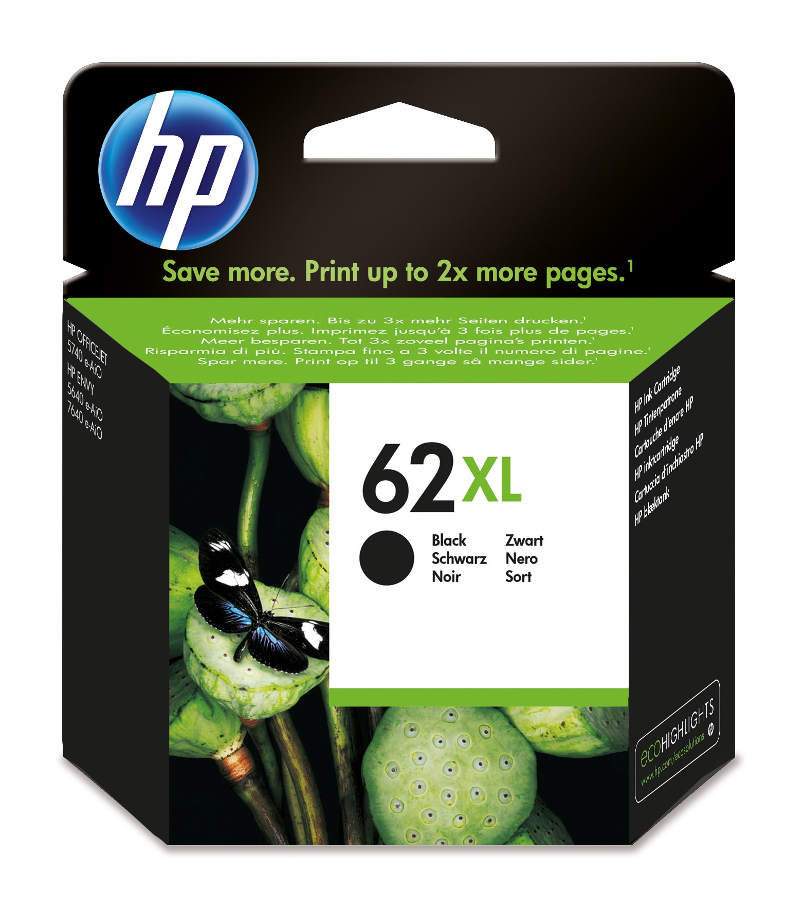 Hp - Inkjet Supply (pl1n) Mvs    Ink Cartridge 62xl Black            Black 62 Xl                         C2p05ae#uus