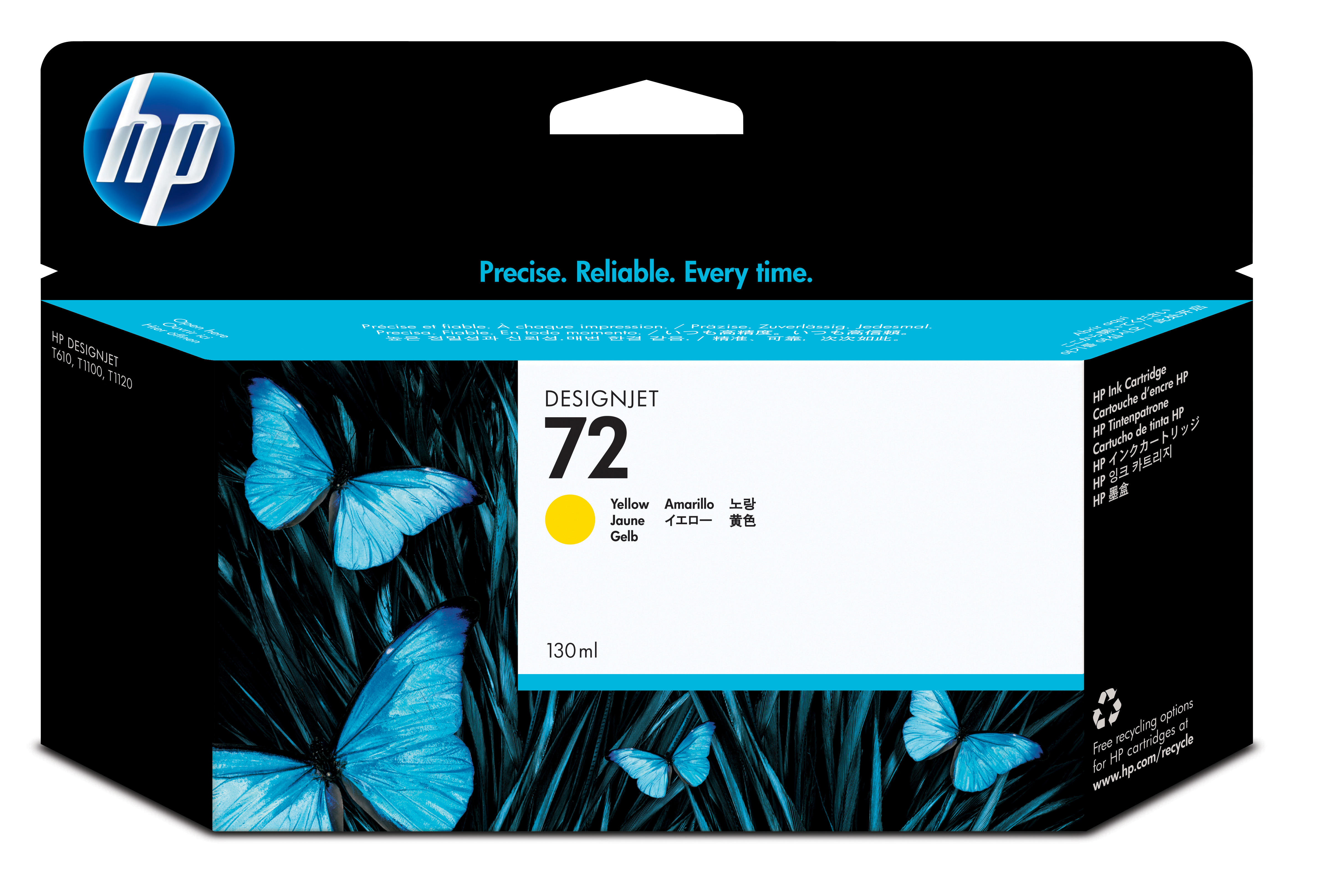 Hp - Inkjet Lf Design Supp (pl U Hp 72 Yellow Ink Cartridge          130 Ml With Vivera Ink              C9373a