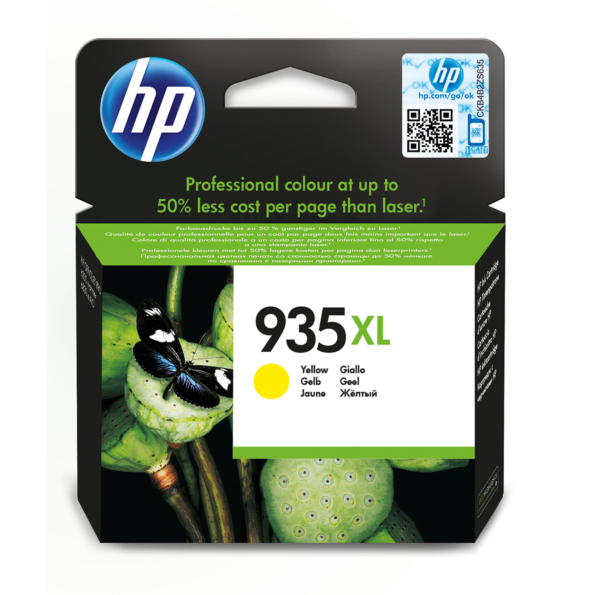 HP 935XL - Yellow - Original - Ink Cartridge - For Officejet 6812, 6815, Officejet Pro 6230, 6230 EPrinter, 6830, 6835 C2P26AE#BGX - C2000