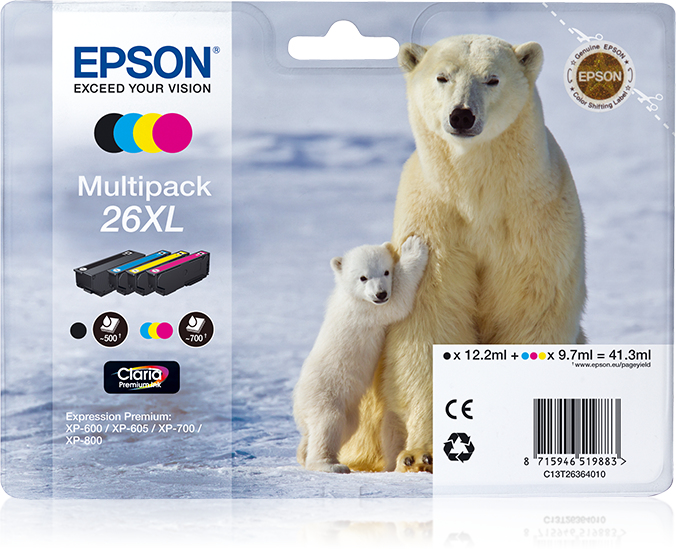 Epson 26XL Multipack - 4-pack - Black, Yellow, Cyan, Magenta - Original - Ink Cartridge - For Expression Photo XP-760, Expression Premium XP-510, 520, 600, 605, 620, 625, 720, 800, 820 C13T26 - C2000