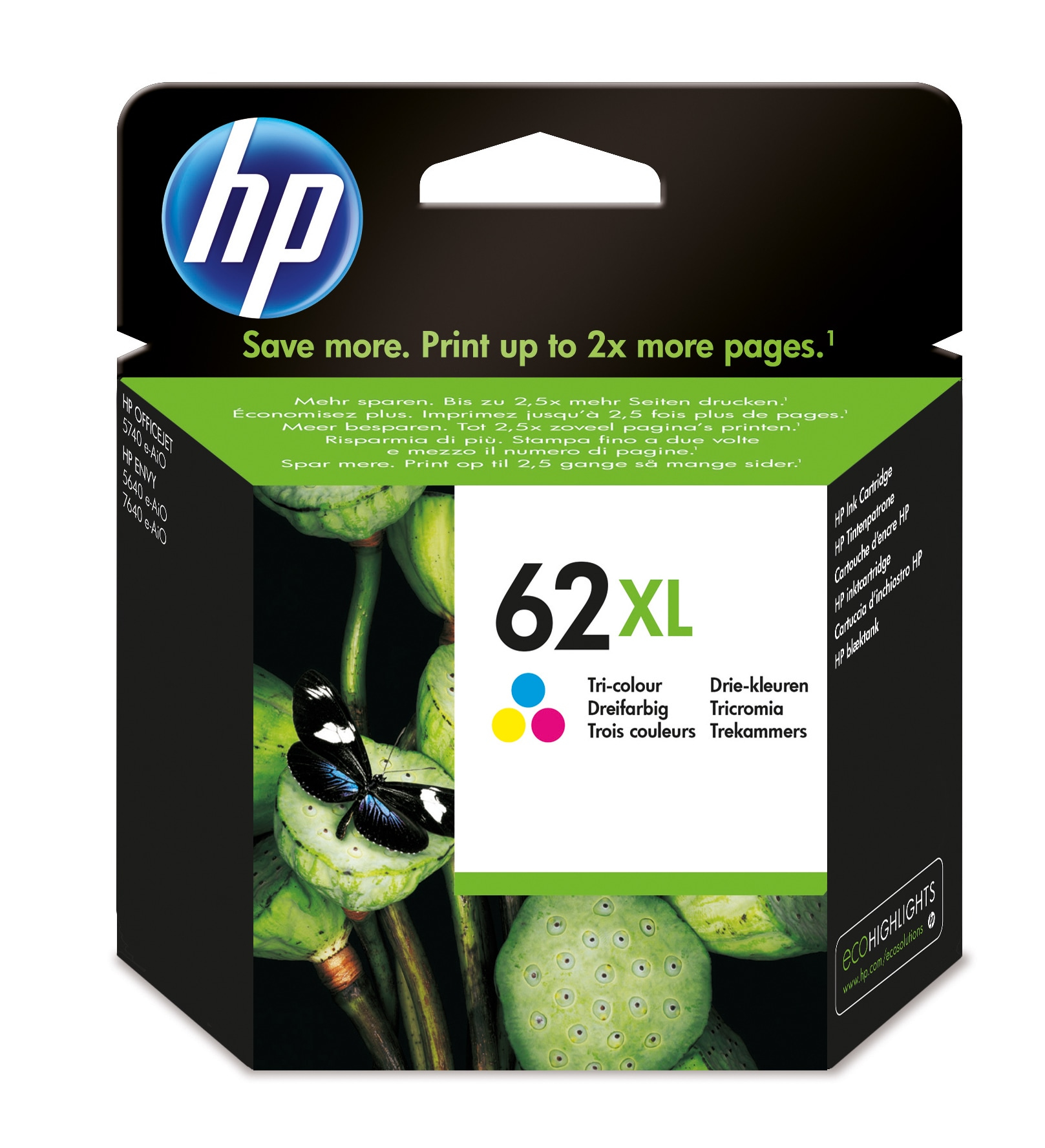 Hp - Inkjet Supply (pl1n) Mvs    Ink Cartridge 62xl Tri-color        Tri-color 62 Xl Blister             C2p07ae#301