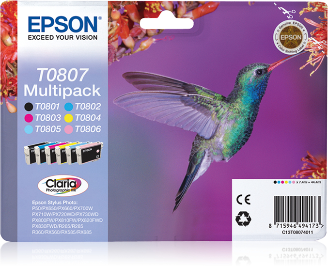 Epson - Supplies Ink (blister)   Claria Photographic Ink 6 Col       Multipack F/r265/rx560/r360         C13t08074021